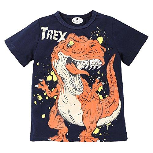 Sunenjoy Bébé Garçon T-Shirt à Manches Courtes Dinosaure Imprimé Été (7 Ans, Bleu)
