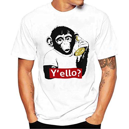 Elecenty Herren T-Shirt Blusentop,Poloshirt Kurzarmshirt Pullover Bluse T-Stücke AFFE Druck Männer Sommerhemd Tops Blusen Sweatshirt Hemd Beiläufig Pulli Kurzarmlig herrenhemden (L, Weiß)