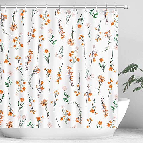 Hispace Floral Shower Curtain, Orange Shower Curtain, Flower Shower Curtain, Plant Shower Curtain, Botanical Shower Curtain Set with 12 Hooks, Leaf Shower Curtain, Bathroom Decor, 72X72 inches