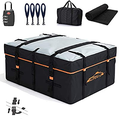 AUPERTO Car Rooftop Cargo Carrier Bag - 19 Cubic Feet Heavy Duty RoofBag with External Non-Slip Mats/Lock/Carry Bag for Cars with or Without Rack