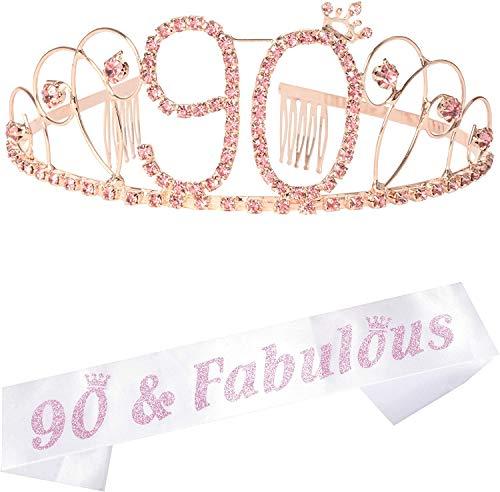 90th & Fabulous  Birthday Tiara and Sash Set