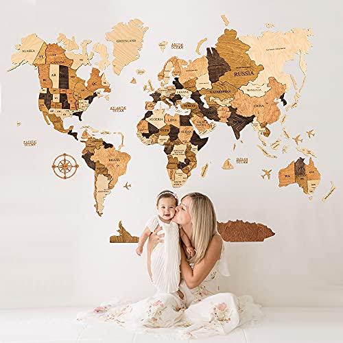 Monde Carte en Bois, Art Mural Carte du Monde, Art Mural de Bureau, Décoration Murale Carte du Monde, Art Mural Carte, Décoration Murale de Voyage, Halloween Decor, Christmas Gift