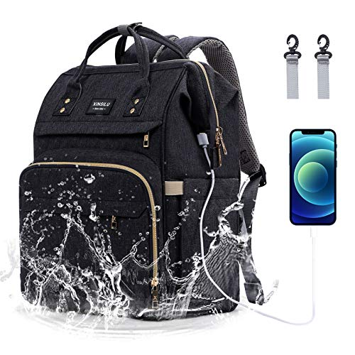 XINSILU Diaper Bag Backpack, Large-Capacity Multifunctional Travel Backpack with Stroller Straps, Built-in USB Charging Port, Can Store A Variety of Baby Supplies for New Mothers, Black Gray