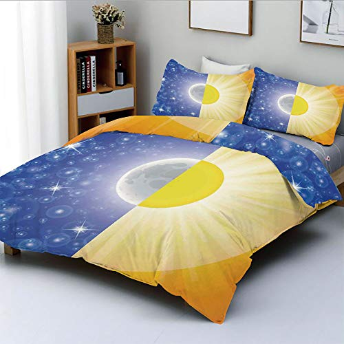 Duplex Print Duvet Cover Set Twin Size,Split Design with Stars in the Sky and Sun Beams Light Solar Balance ImageDecorative 3 Piece Bedding Set with 2 Pillow Sham,Blue Yellow,Best Gift For Kids & Adul