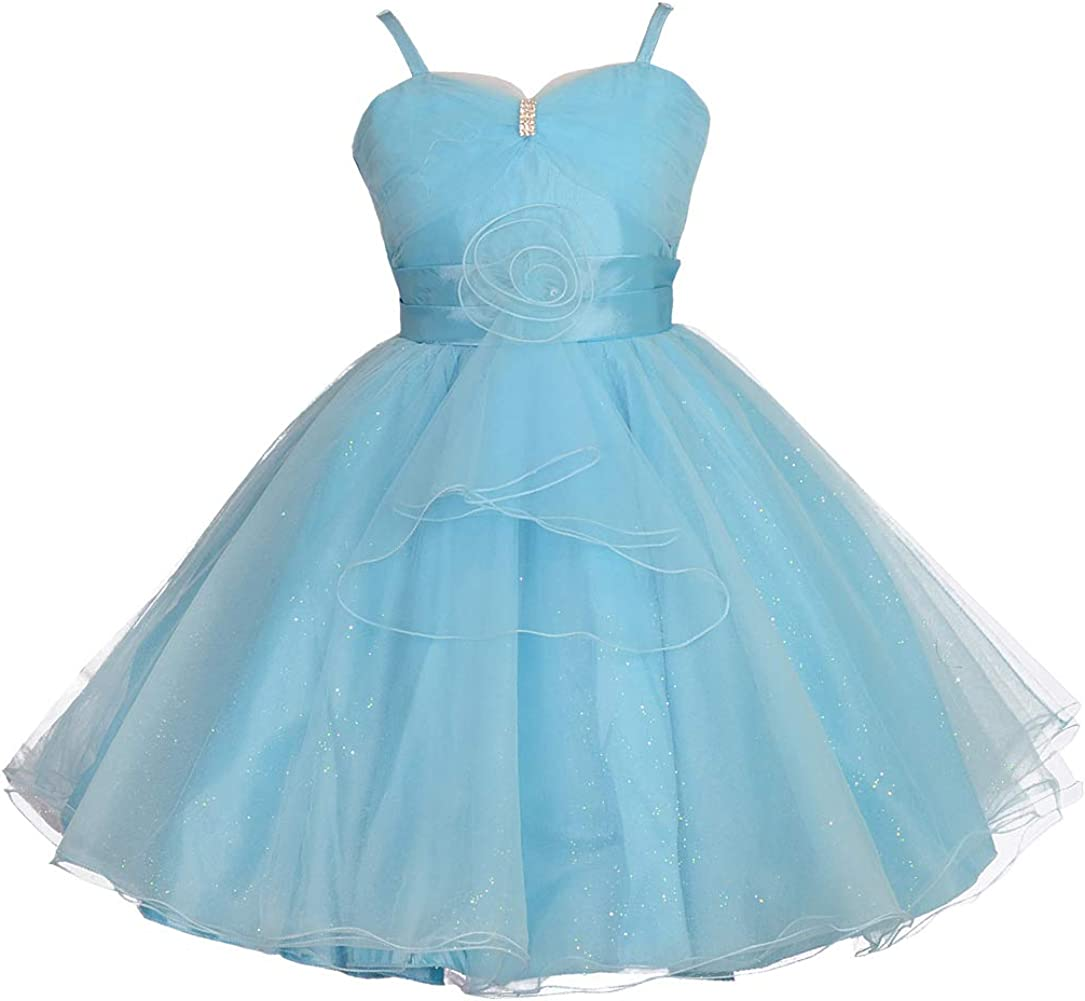 Lito Angels Girls Wedding Pageant Flower Girl Party Crystal Buckle Formal Dress