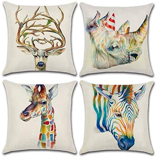 Soleebee Set di 4 Fodere per Cuscino in Cotone per Auto, Divano, Letto, Decorazioni per la casa (45 x 45 cm, Animali 3d)