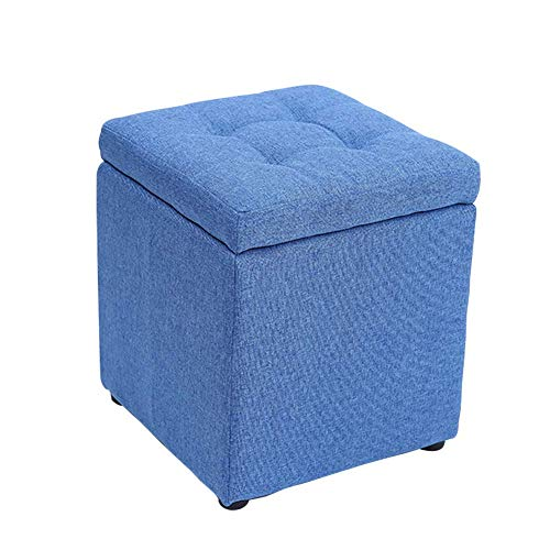 HKX Upholstered Storage ottoman With hinged lid, Square Cotton linen Footrest stool Small Cube Footstool-Dark Blue