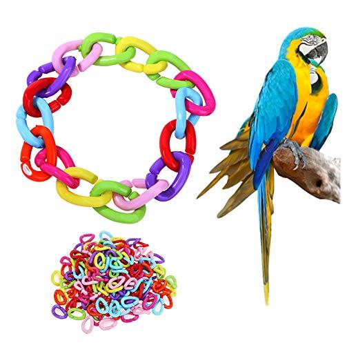 Sahgsa Parrot Cage Toys, Cadena de plástico 100pcs Pet Rat Parrot Bird DIY DIY Pet Biting Toys Bird Accessories