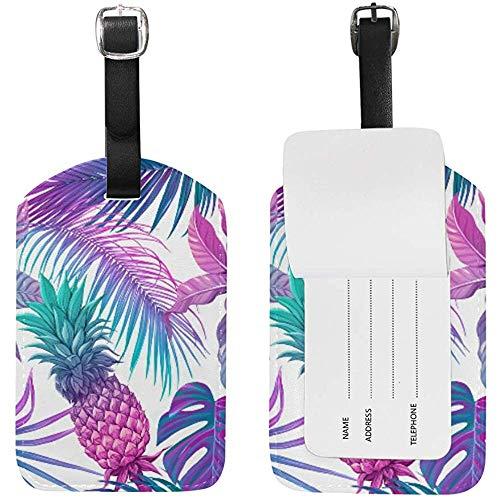 Nahtlose Fluoreszierende Tropische Pflanze Blume süße Gepäckanhänger PU Leder doppelseitiger Druck Reisetasche Koffer Identifikatoren