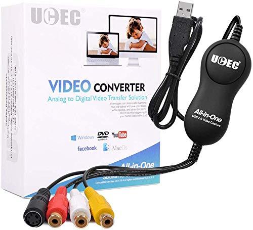 BENUTZERFREUNDLICH: Sie können Videos von einem Videorecorder oder einer anderen analogen Videoquelle auf Ihren Mac oder PC übertragen. ANALOG-VIDEO-LÖSUNG: Speichern Sie Familienerinnerungen und Familienvideos auf Ihrem Computer. Die benutzerfreundl...