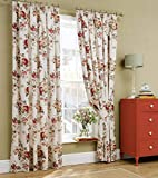 "Cath Kidston Garden Rose Floral Red Cream Lined 66"" X 54"" - 168cm X 137cm Pencil Pleat Curtains"