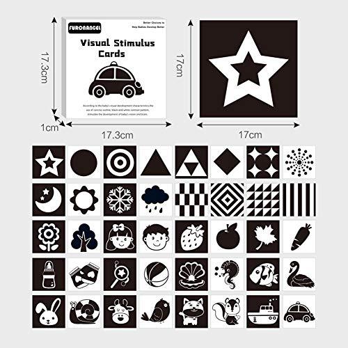 Shoh - Juego de 2 tarjetas para bebé, imágenes en blanco y negro, con flash, para recién nacidos, niños, estimulación visual, para niños pequeños y niños pequeños