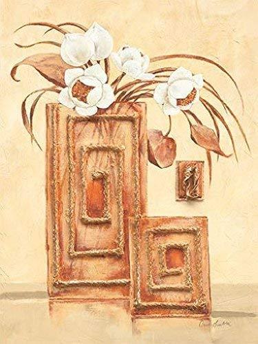 Leinwand-Bild - Claudia Ancilotti: Tropic 24 x 30 cm stillleben modern Vasen Blüten beige weiss