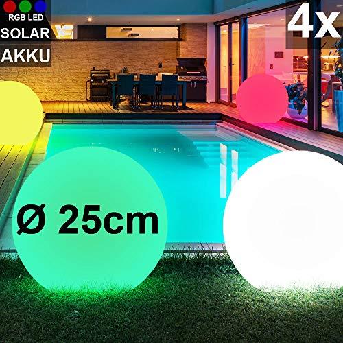 4x RGB LED Solar Steck Lampen Park Garten Kugel Erdspieß Leuchten Farbwechsler