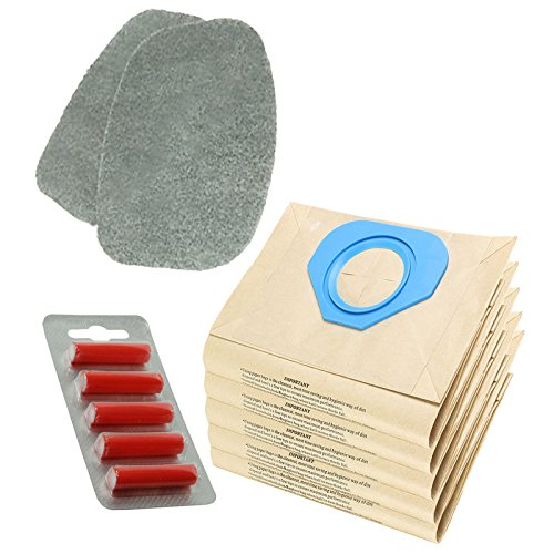 Spares2go filtre Coussinets + Sacs à poussière pour Nilfisk Homespare GS80 GS90 GM80 GM90 Gd80 Foof Aspirateur (lot de 2 filtres + 5 Sacs + désodorisants)