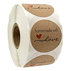 """1.5"""" Inch Round Brown Kraft Stickers 500 labels per roll Sticker reads 'homemade with love' in black ink and features an eye catching red heart Kraft Label stock with permanent adhesive that sticks to most surfaces Made in the USA. Quality Stock."""