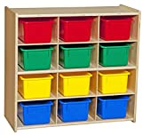 Contender 12 Compartment Toy Storage Cabinet for Kids, Montessori Shelves for Organizing Art and Craft Supplies, 100% Plywood Cubby Shelving for Classroom, Assorted