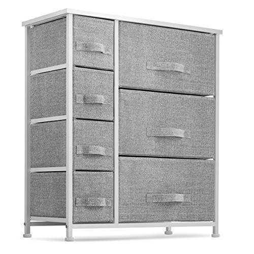 7 Drawers Dresser - Furniture Storage Tower Unit for Bedroom, Hallway, Closet, Office Organization - Steel Frame, Wood Top, Easy Pull Fabric Bins Gray/White