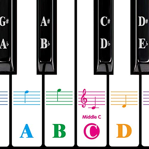 Piano Stickers for 88/61/54/49/37 Key. Large Bold Colorful Letter Piano Keyboard Stickers for Learning Piano.Multi-Color, Removable,Transparent