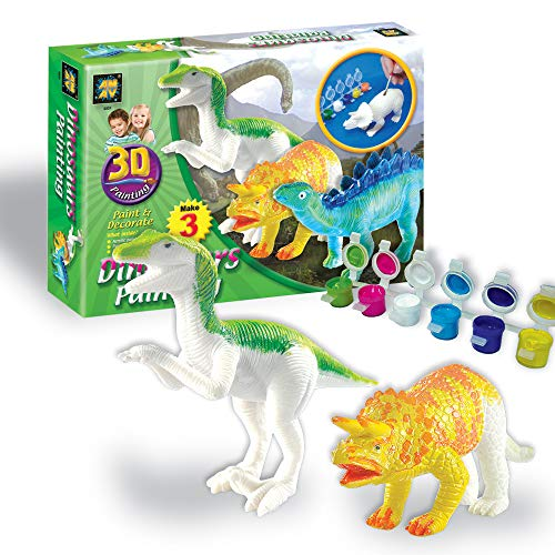 AMAV Toys 3D Painting-Dinosaurs Arts & Crafts for Kids Age 4+. 6 Colors to Paint with for Dinosaur Lovers & A Perfect Artistic Activity. Ideal Gift