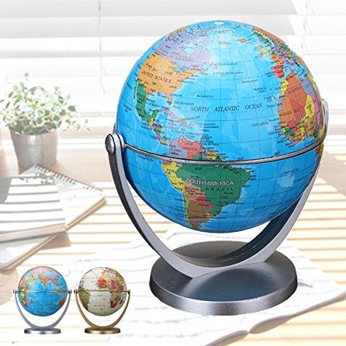 EsportsMJJ 360 Draaibare aardbal Aarden Werelddoze wereldbol Wereld ografie kaart tafel bureau, blauw, 1
