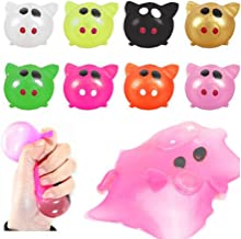 W-ShiG 8 Pack Pig Splat Ball Sticky & Stretchy Toys Bouncy Balls Slow Rising Squishy Toy Stress Relief Ball Tricky Toys for Adults Kids (8pcs)