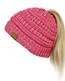 C.C BeanieTail Soft Stretch Cable Knit Messy High Bun Ponytail Beanie Hat, 3 Tone Coral