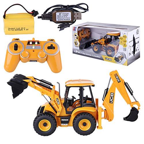 Lommer RC Bagger mit 2.4 GHz Fernsteuerung, 2 in 1 Ferngesteuert Raupenbagger mit Lader und Bagger, 1:20 Bagger Spielzeug Geschenk für Kinder und Erwachsene