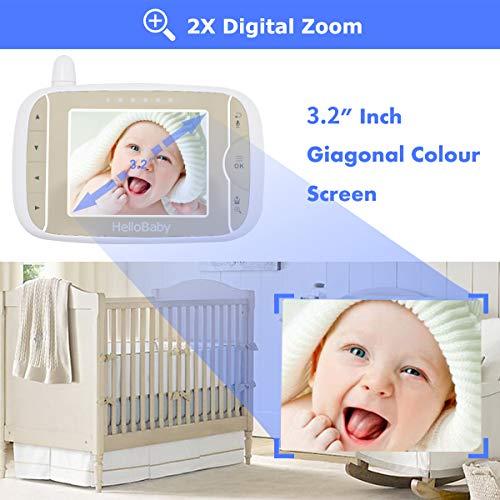 HelloBaby Video Babyphone mit Remote-Kamera Pan-Tilt-Zoom 3,2-Zoll-Farb-LCD-Bildschirm Infrarot-Nachtsicht Temperaturüberwachung Zwei-Wege-Gespräch HB65 (Schwarz/Weiss)