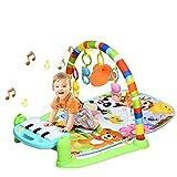 GOPLUS Baby Krabbeldecke, Erlebnisdecke mit Spielbogen, Spieldecke mit Lichtern & Musik, Abnehmbares Spielzeug, mit Spiegel, Drehbares Piano, für Babys ab der Geburt, bunt