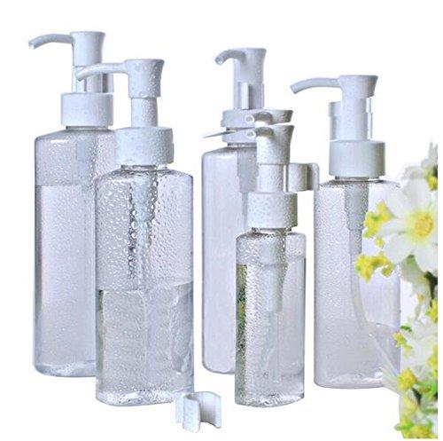 3PCS clair PET vide contenants en plastique de bouteille de voyage avec le distributeur blanc de pompe de lotion pour le shampooing Conditioner Lotion Articles de toilette (5.2 OZ/150 ML)