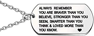 Engraved Tag Pendant Necklace Keychain Message Engraved Always Remember You are Braver Letter Pendant Inspirational Gift Men