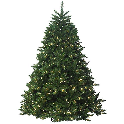 Holiday Tree - Artificial Prelit Christmas Tree with LED Light & Stand - Soft PVC Plastic for Full Appearance - Brunswick Spruce LED 5' -Pre lit Lights On Every Branch - Hook On Branches