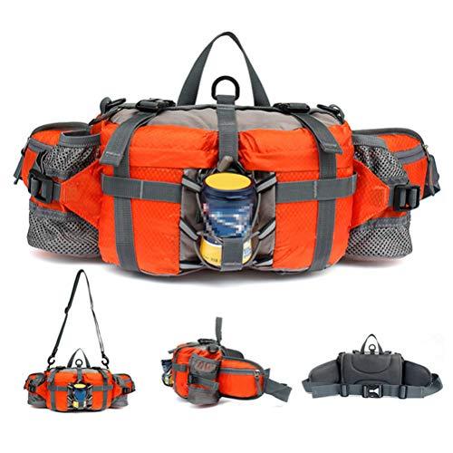 Outdoor heuptas wandelen camping vissen riemtas lumbale wervelkolom met 2 flessenhouders oranje
