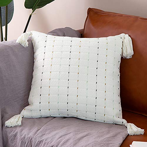 Cotton Woven Decorative Throw Pillow Cover 18X18 Inch Cream White Square Pillow Case Boho Tassels Pillow Cover for Couch Sofa Bedroom Outdoor, Modern Neutral Cute Design Minimalist Striped Patterns