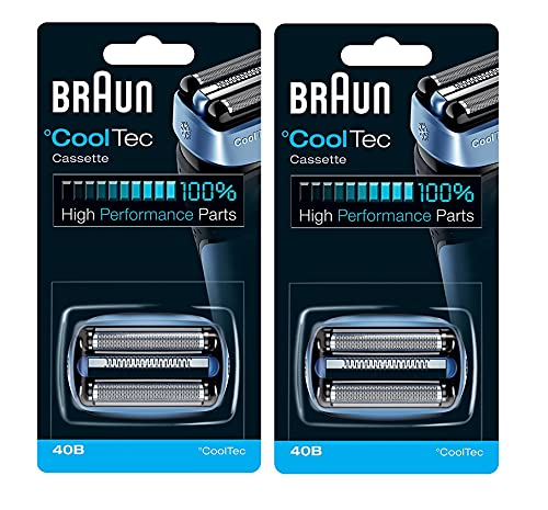 Braun 40B Mens Lámina Eléctrica Cooltec Y Cortador Pack Set Cabeza Recambio Cassette, Cuenta 2