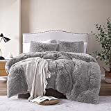 Lynnlov Plush Fluffy Faux Fur Duvet Cover Queen Size, Luxury Soft Fuzzy Shaggy Bedding Sets 3 Pieces(1 Duvet Cover + 2 Pillowcase), Cozy Furry Comforter Cover with Inner Lining, Gray, Zipper Closure