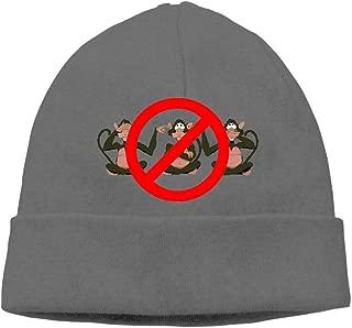 Ghhpws Cute Monkey Hear See No Evil Beanie Wool Hats Knit Skull Caps Warm Winter Beanies for Men Women DeepHeather