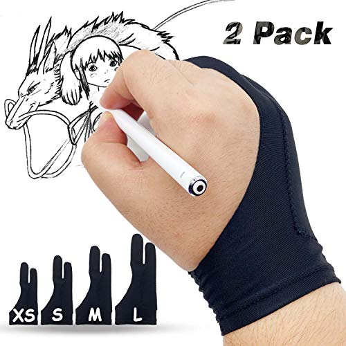 LAMONDE Artist Glove, Drawing Glove Right Left Hand, Palm Rejection Glove for Drawing Tablet, iPad Sketching, Xsmall -2 PCS