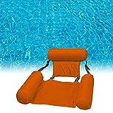Uniguardian Hamaca de agua hinchable plegable para piscina, con respaldo, para piscina y piscina, 4 en 1, para adultos y niños (naranja)
