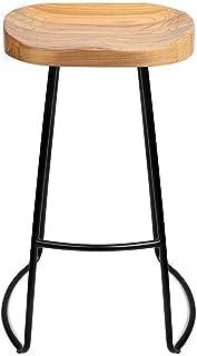 Estilo Industrial Taburetes de Bar | Tapa de Madera Maciza y Marco de Metal | Silla de Comedor | Diseñador rústico Vintage | Cocina Pub Bar Taburete | 3 tamaños