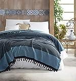 Belle Living Nefes Tagesdecke Überwurf Decke - Wohndecke hochwertig - perfekt für Bett & Sofa, 100prozent Baumwolle - handgefertigte Fransen, 200x250cm (Türkis)