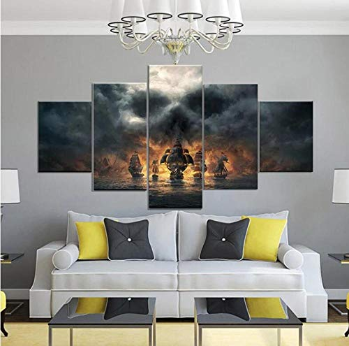 Posters & Prints 5 Pieces Canvas Painting Pirates Movie Wall Art Pictures Wallpapers Poster Print for Living Room Decor (Size_2)_Unframed