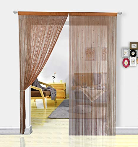 HSYLYM String Curtain with Pearl Beads Dense Fringe Beaded Door Tassel Curtains (100x280cm,Coffee)