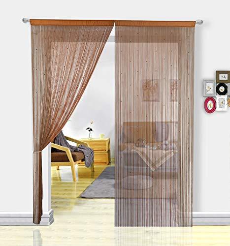HSYLYM Pantalla de Cortinas de Cuerdas Cuentas,para decoración del hogar,café,90x245cm