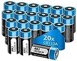 【Potente CR123A 】 Adottare cella a batteria di alta qualità con 1600mAh grande capacità, AHJ batterie CR123a 3V litio ha la curva di tensione costante, che consente prestazioni stabili in dispositivi ad alta corrente consumando, dura da 3 a 5 volte p...