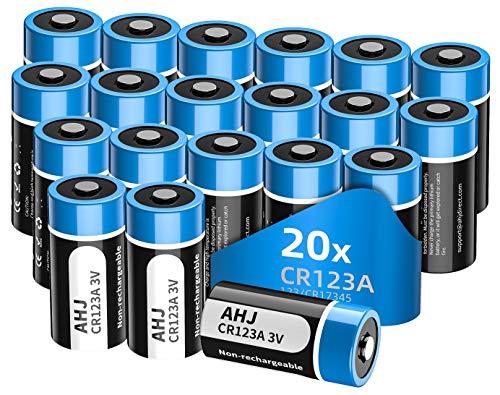 AHJ Pilas CR123a 3V de Litio no Recargables CR123 - Paquete de 20 Pilas (CR 123 / CR17345) - Capacidad 1600 mAh - Ideal para la Linterna Cámara Digital Videocámara Juguetes Antorcha-NO PARA ARLO