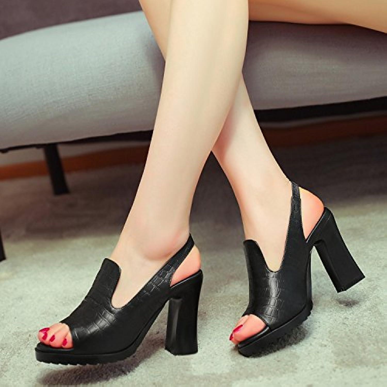 WHW Women's Low Heel Peep Toe Sandals Wedding Party Evening Dress Sandals,33,Black