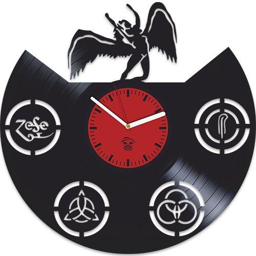 Kovides Led Zeppelin Rock Band, Music Fans Modern Art, Vinyl Record Best Gift for Dad Mom Girlfriend Boy Girl Vinyl Wall Clock Home Decoration Living Room Inspirational, Vinyl Wall Clock Silent