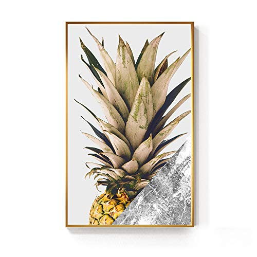 zxddzl Piña Negra y Dorada Monstera Planta Pintura póster impresión Arte de la Pared decoración Moderna única 1 30x50cm